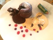 Chocolate Lava Cake with Cointreau, berries and Paan